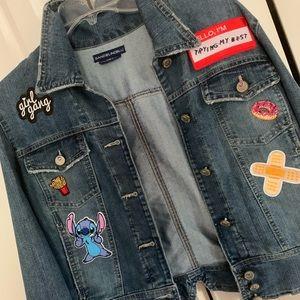 Custom denim patch jacket size L